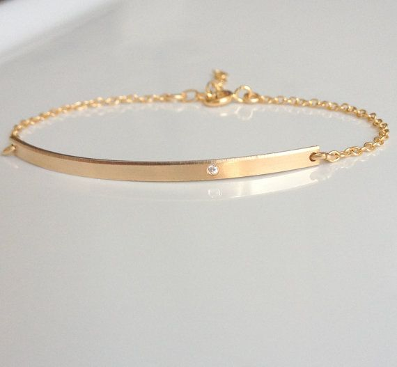 Diamond Bar Bracelet Gold Nameplate Personalized Tiny Skinny Custom Id