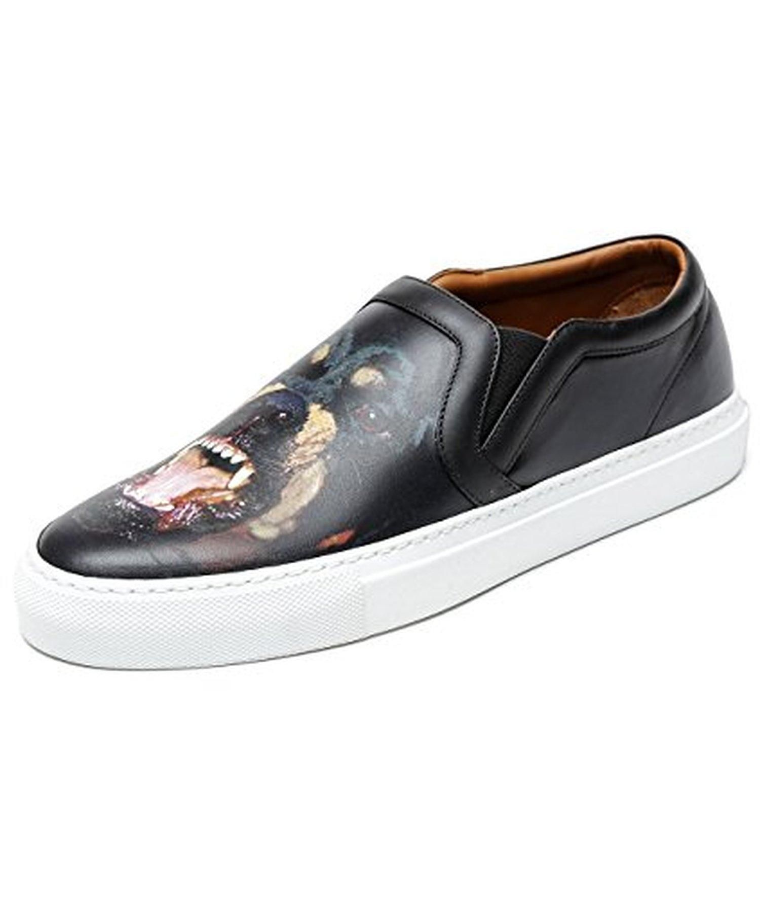 Wiberlux Givenchy Men's Dog Print Real Leather Slip-On Sneakers 44 Black -  Brought to