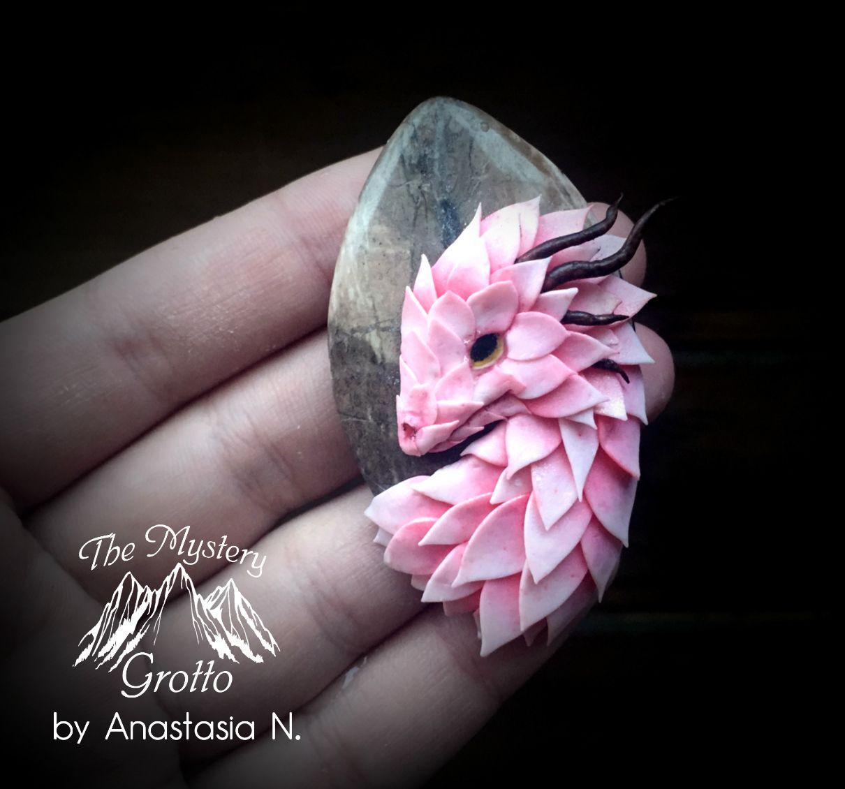 Dragon Necklace Dragon On Stone Dragon On Gem Flower Dragon Pink