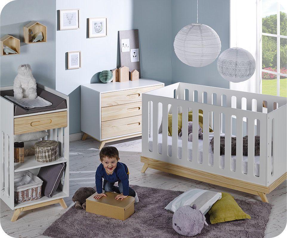 Mini-#Chambre #Bébé Songe Blanche et Bois - Peinture à l\u0027eau