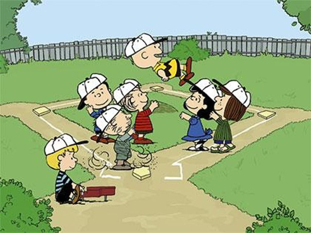 Image result for image, photo, picture, kids from peanuts at baseball game