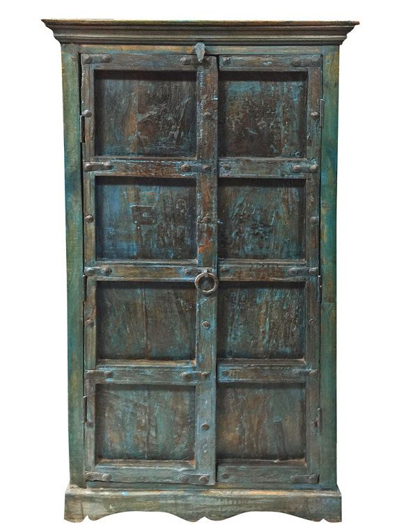 Blue Patina Armoire Cabinet 3 Shelves Antique Old by MOGULGALLERY ...