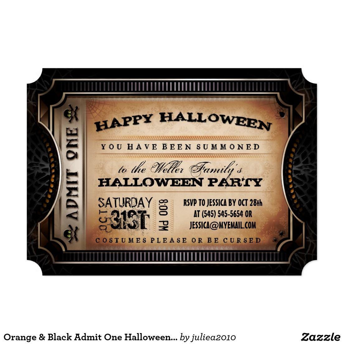 Orange & Black Admit One Halloween Party Ticket 5x7 Paper ...