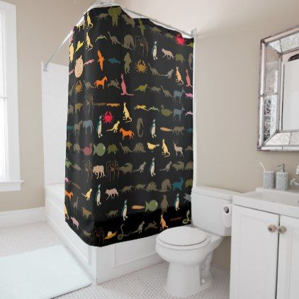 Colorful Animals Pattern 5 Shower Curtain Bathroom Accessories Home
