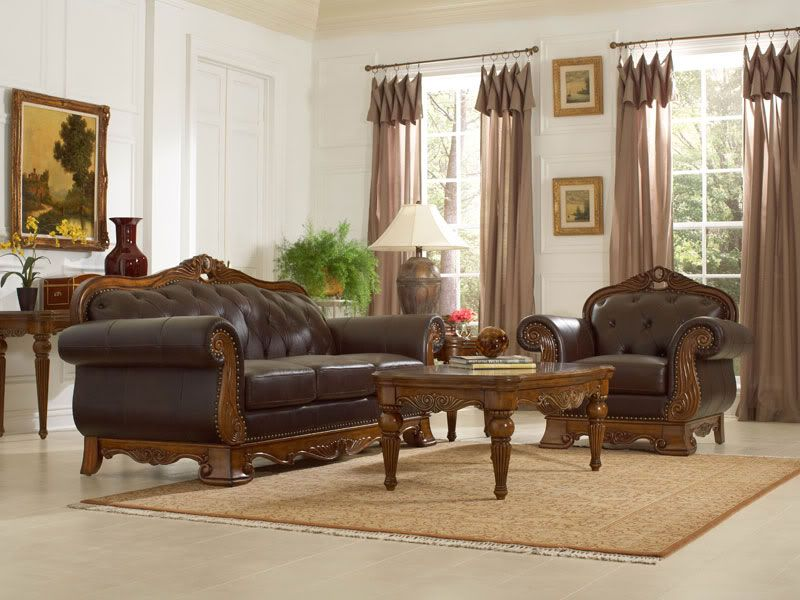 Merveilleux Wood And Leather Furniture | ... Wood Trim Genuine Leather Sofa Couch U0026  Chair Set Living Room Furniture
