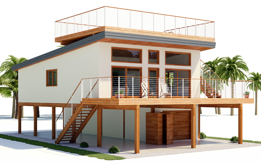 Beach House Plan Three Bedrooms Open Planning Raised Pile Foundation Balcony In 2020 Beach House Floor Plans Coastal House Plans Stilt House Plans