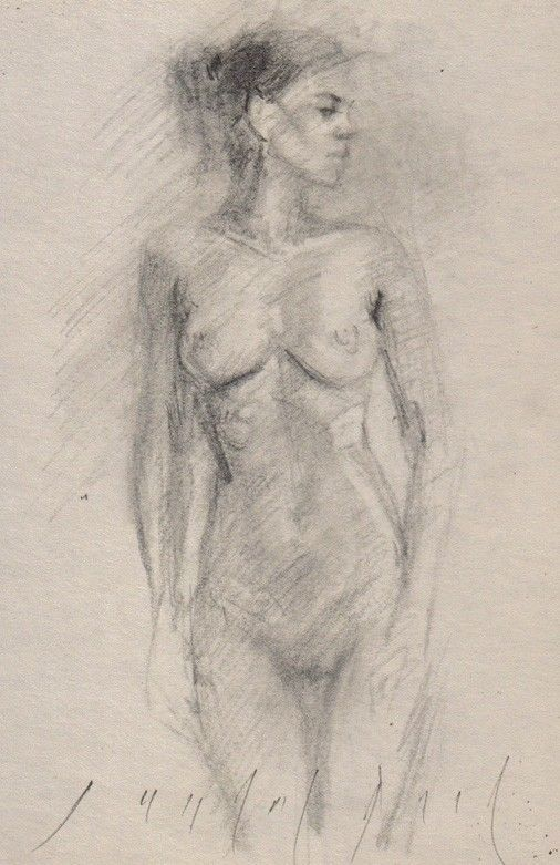 FEMALE NUDE Standing Figure Model Realistic Sketch Charcoal