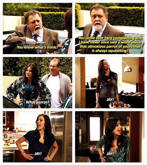 Neighbor And Gloria Quote What Parrot Modern Family Quotes Modern Family Funny Modern Family