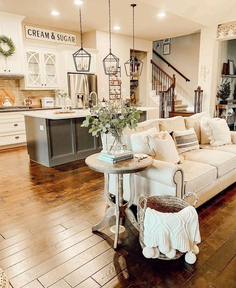 Pin By Farmhouse Wonders Decor Deal On Kitchen Inspirations Farm House Living Room Open Concept Kitchen Living Room Farmhouse Interior