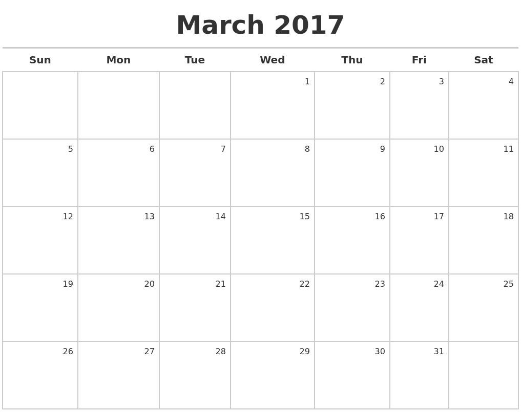 2017 calendar by month