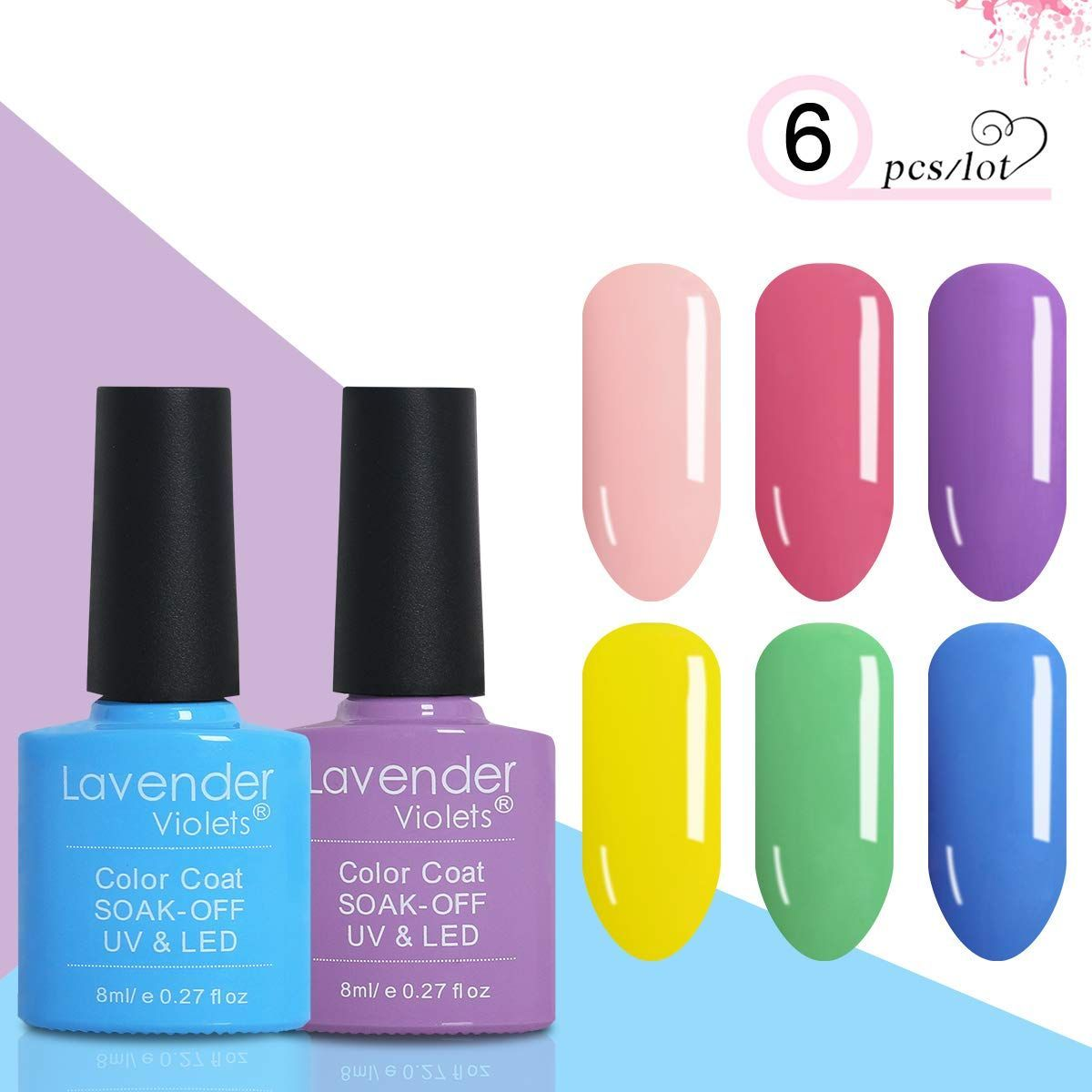 Lavender Violets 6 Colours Gel Nail Polish Set Uv Led Soak Off Gel Varnish Kit 8ml Easter Combo Amazon Co Uk Amazon Nail Polish Gel Nail Polish Set Uv Led