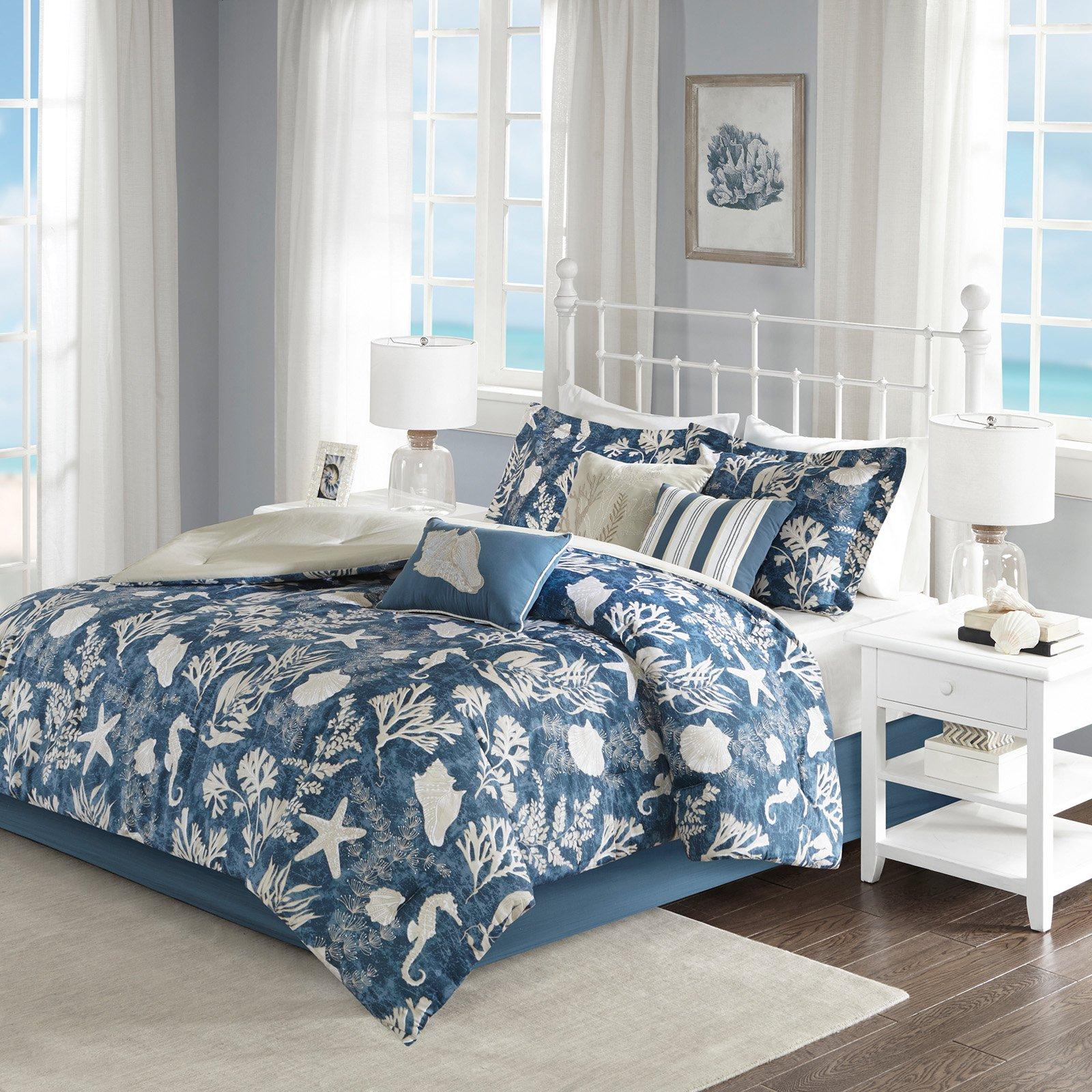 Madison Park Carmel 7 Piece Comforter Set Blue King