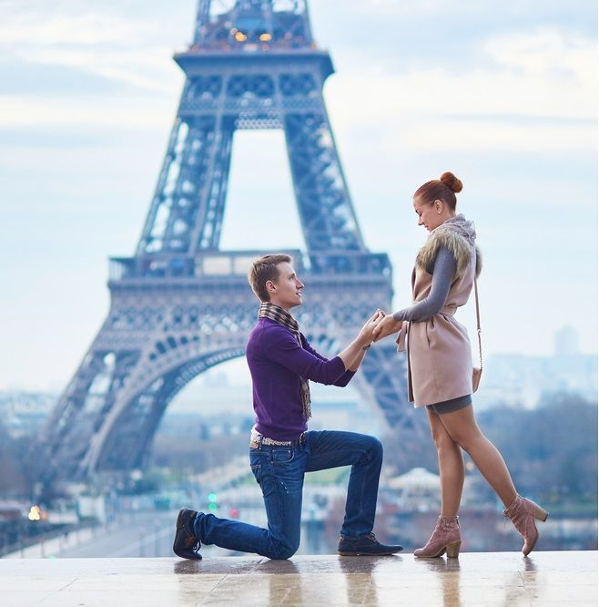 Romantic #engagement In #Paris , #man #proposing To His