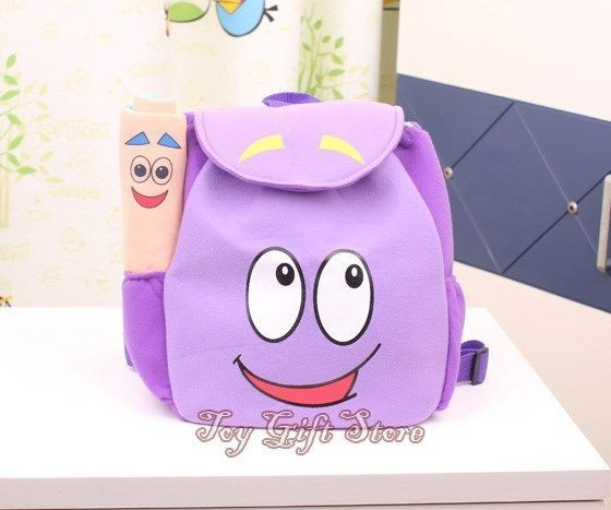 Dora Backpack Purple Plush  Girls Preschool The Explorer Rescue Bag
