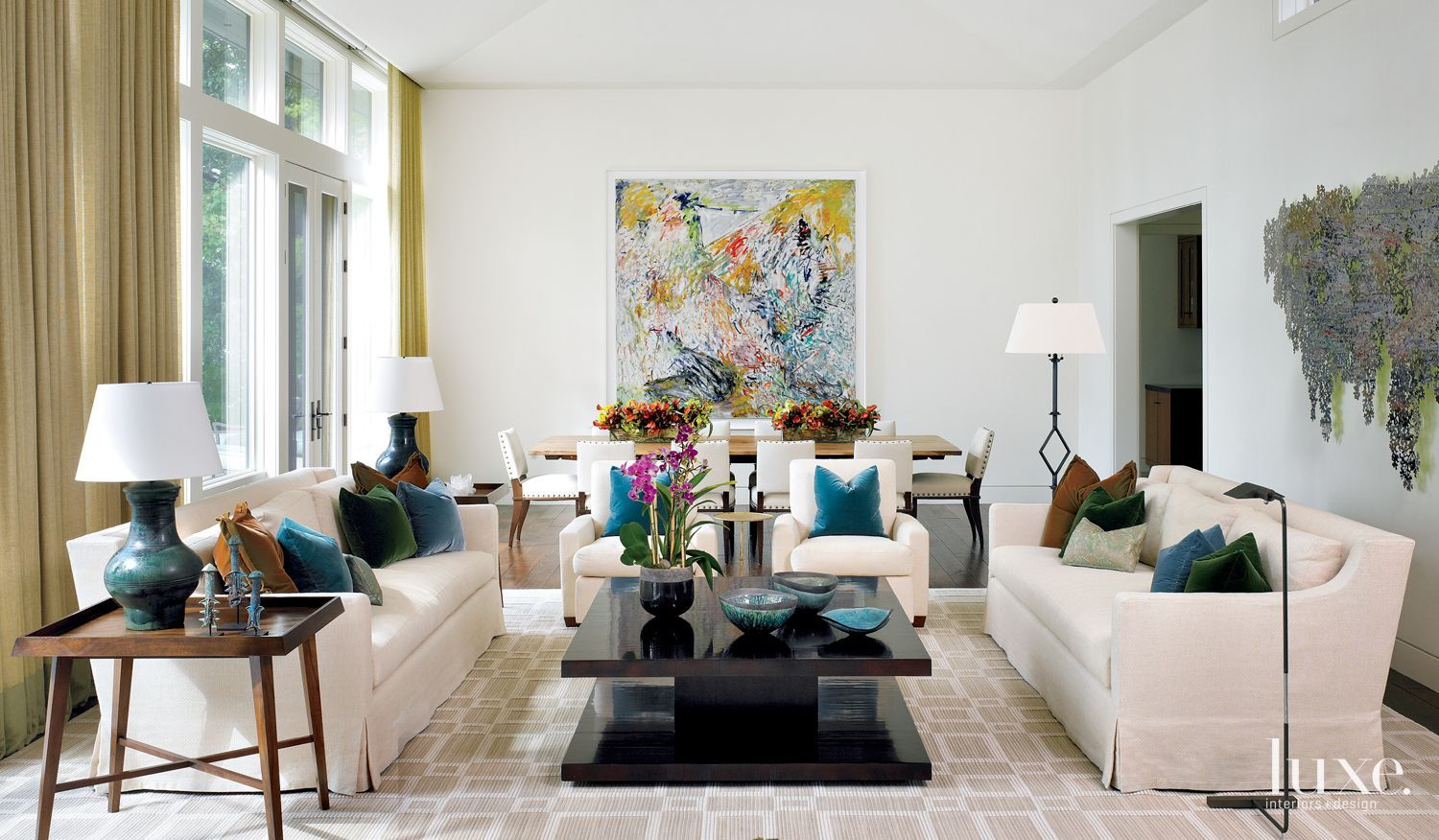 Contemporary White Living Room with Multicolored Accent Pillows ...