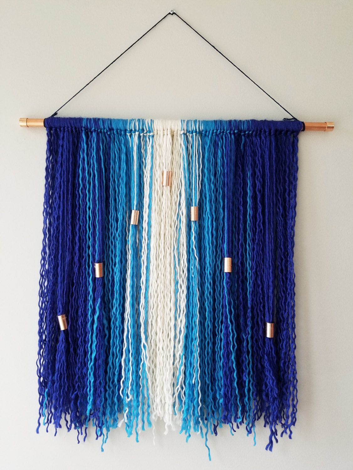 Boho Wall Hanging blue ombre bohemian wall hanging with fringe - boho wall art