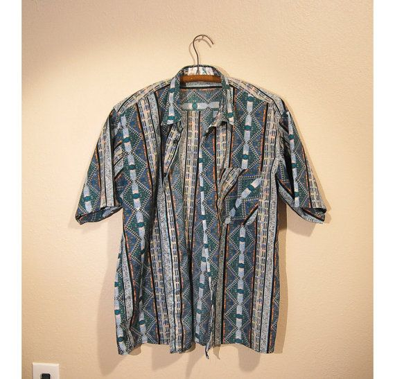 Festive Button Up Mens M/L by THESALTYFAWN on Etsy