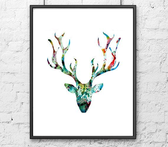 Deer Art Print Watercolor Painting Blue Deer Art Print Animal This Is A  High Quality Giclee Reproduction Of My Watercolor Stag Google Animals  Pinterest.