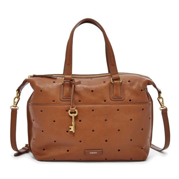 Fossil Julia Cognac Perf Leather/Cotton Interior Zipper Top Closure Satchel #Doris_Daily_Deals #Bonanza