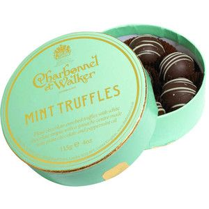 Charbonnel et Walker mint truffles. Plain chocolate enrobed truffles with white chocolate stripes with a ganache centre made… | Truffles ...