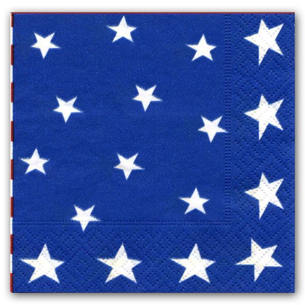 Stars and Stripes Caspari Cocktail Napkins | PaperStyle (($))