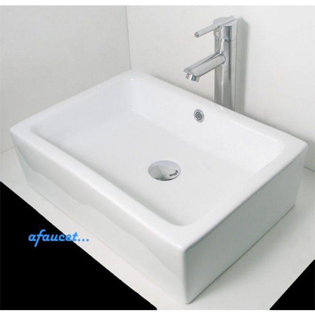 Rectangular Porcelain Ceramic White Black Bathroom Vessel Sink 20 X 14 X 6 Inch Black Bathroom Vessel Sink Bathroom Sink