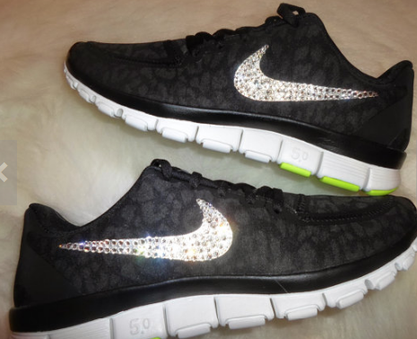 446c25086a24 Womens Nike Free 5.0 V4 running shoes black Metallic silver Anthracite  design swarovski swoosh bling shoes