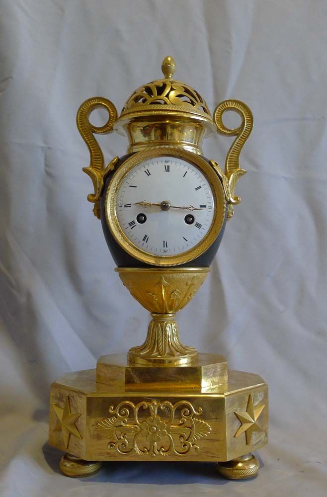 Antique French Empire Patinated Bronze And Ormolu Vase Clock Dated