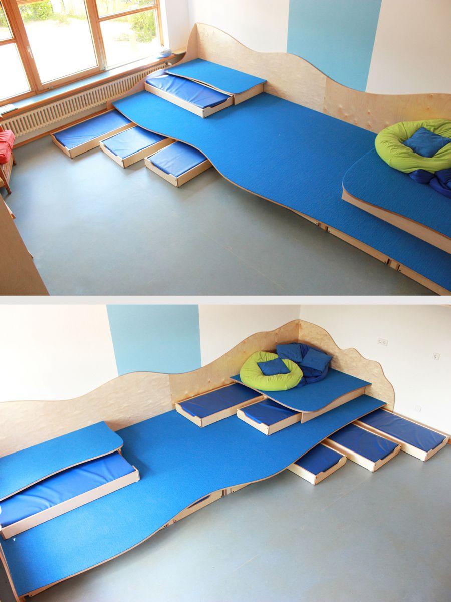 Spiel Und Schlafpodest Kindergarten Innenraum Kindergartenentwurf Kinder Krippe