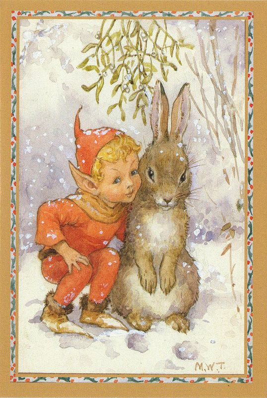 Margaret Tarrant Christmas Card | Elves, Rabbit and Fairy