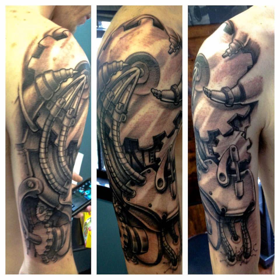 Tattoo gear tattoo sleeve mechanic tattoo mechanical tattoo gears - Amazing Grey Ink Biomechanical Tattoo On Half Sleeve