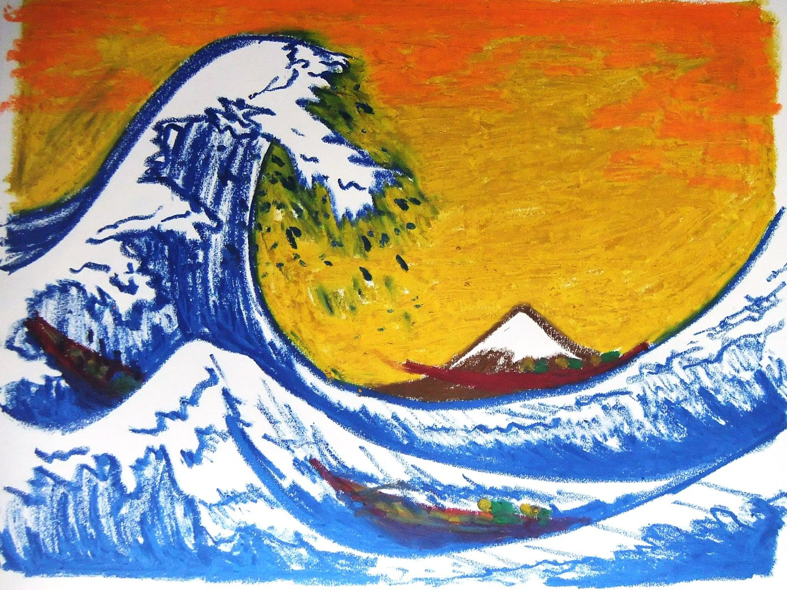 The Great Wave Hokusai Oil Pastel