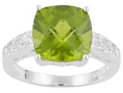 Qinpei Peridot(Tm) 4.78ctw Square Checkerboard Cut With Round White Topaz Sterling Silver Ring