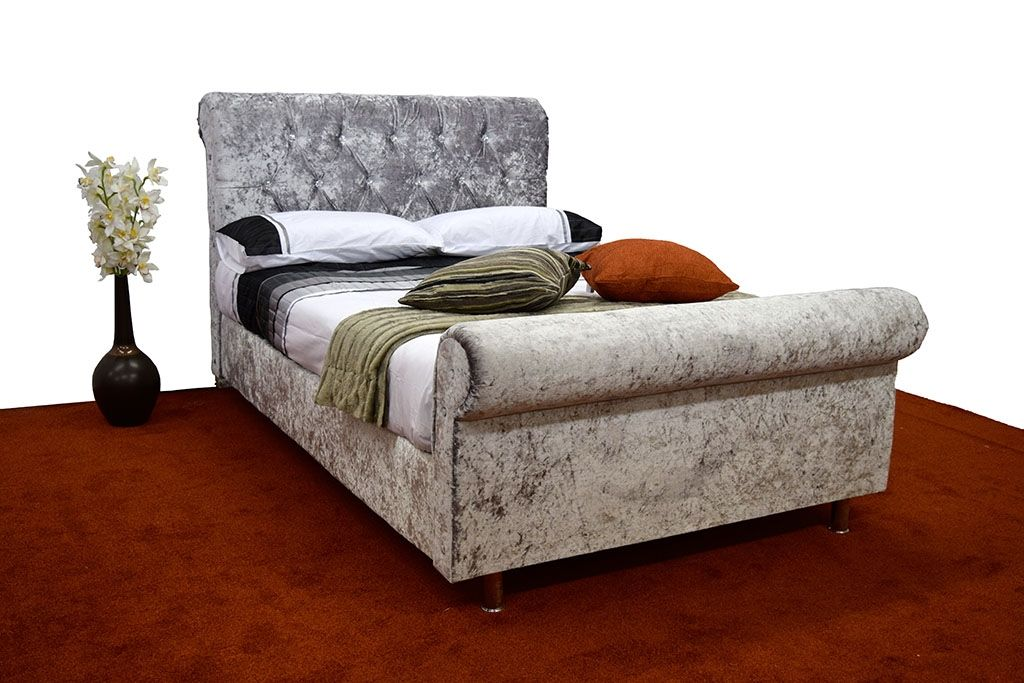 Best Sleigh Bed Crushed Velvet Very Velvet Silver 640 x 480