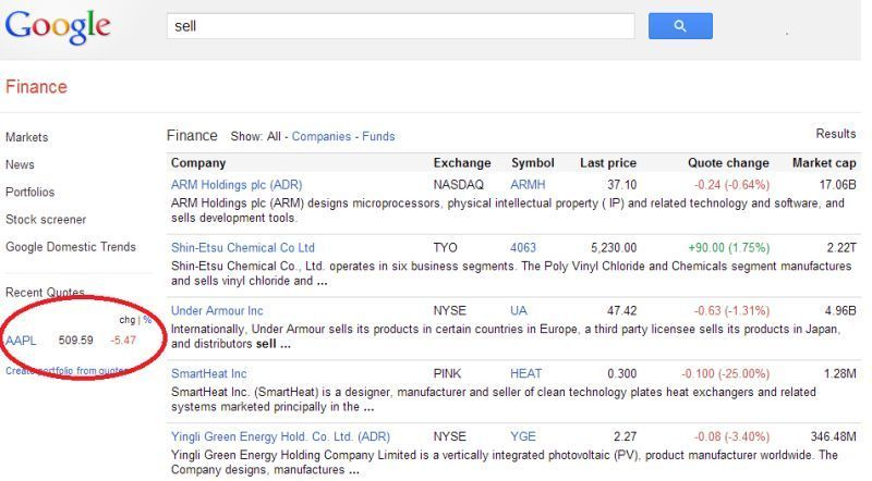 Apple Stock Quote Google Finance Shows Apple Stock Price For The Query 'sell' Problem