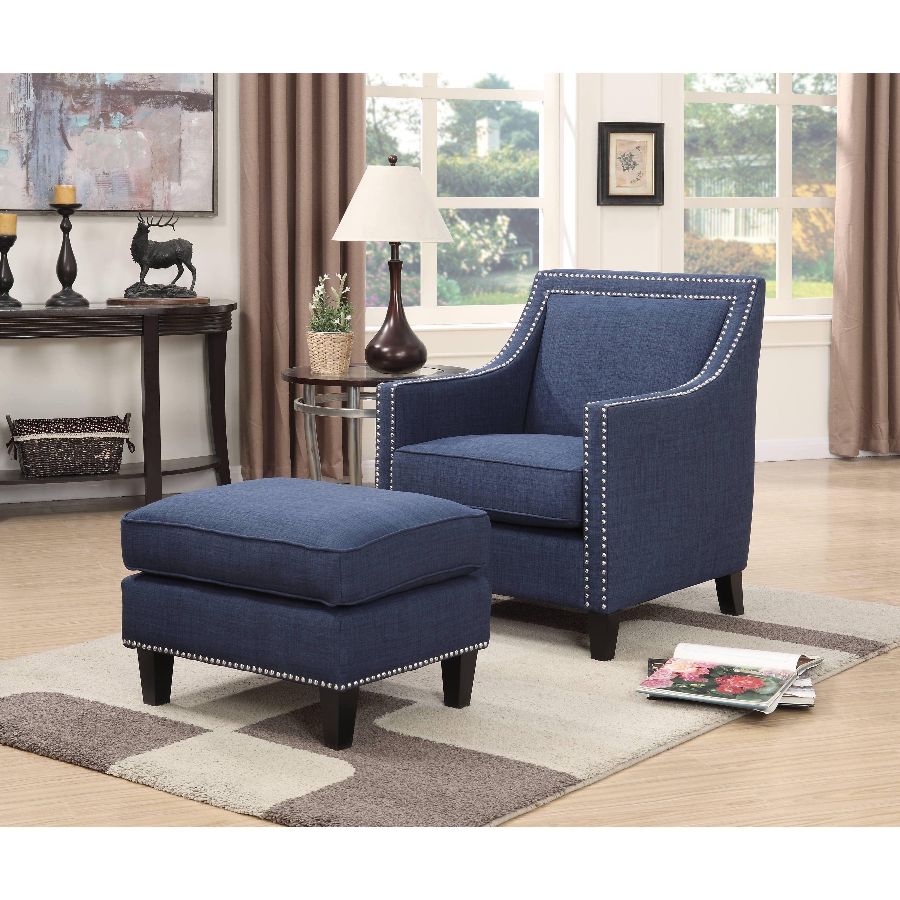 Clay alder home harrison chair ottoman emery chair ottoman blue