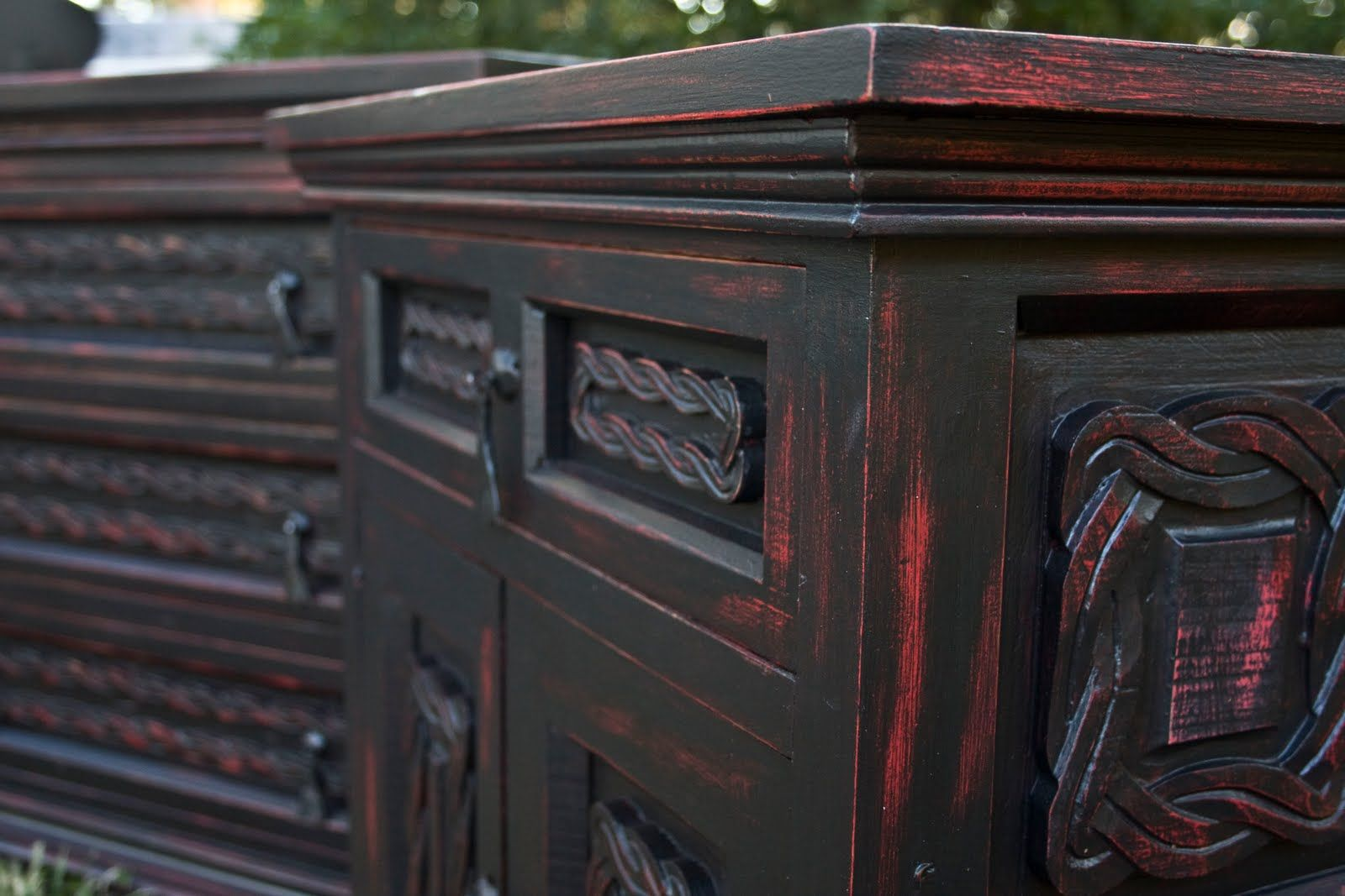 Red and black distressed furniture black and red dresser and nightstand