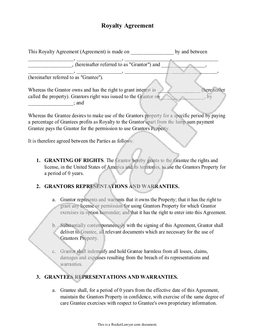 Sample Royalty Agreement Form Template  Suits Suits