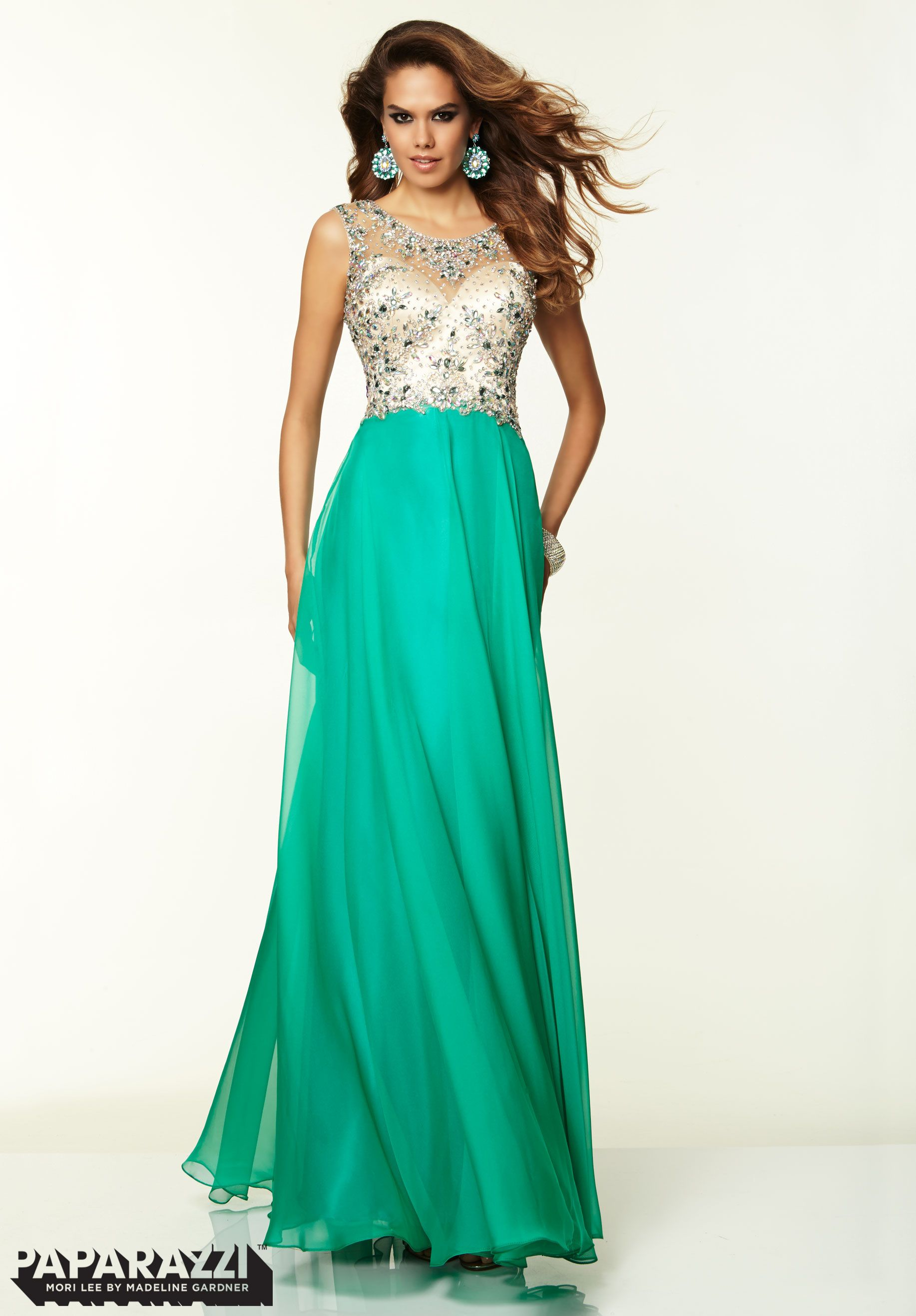 97033 Prom Dress / Gown Beaded Net and Chiffon Green | Dances & Such ...