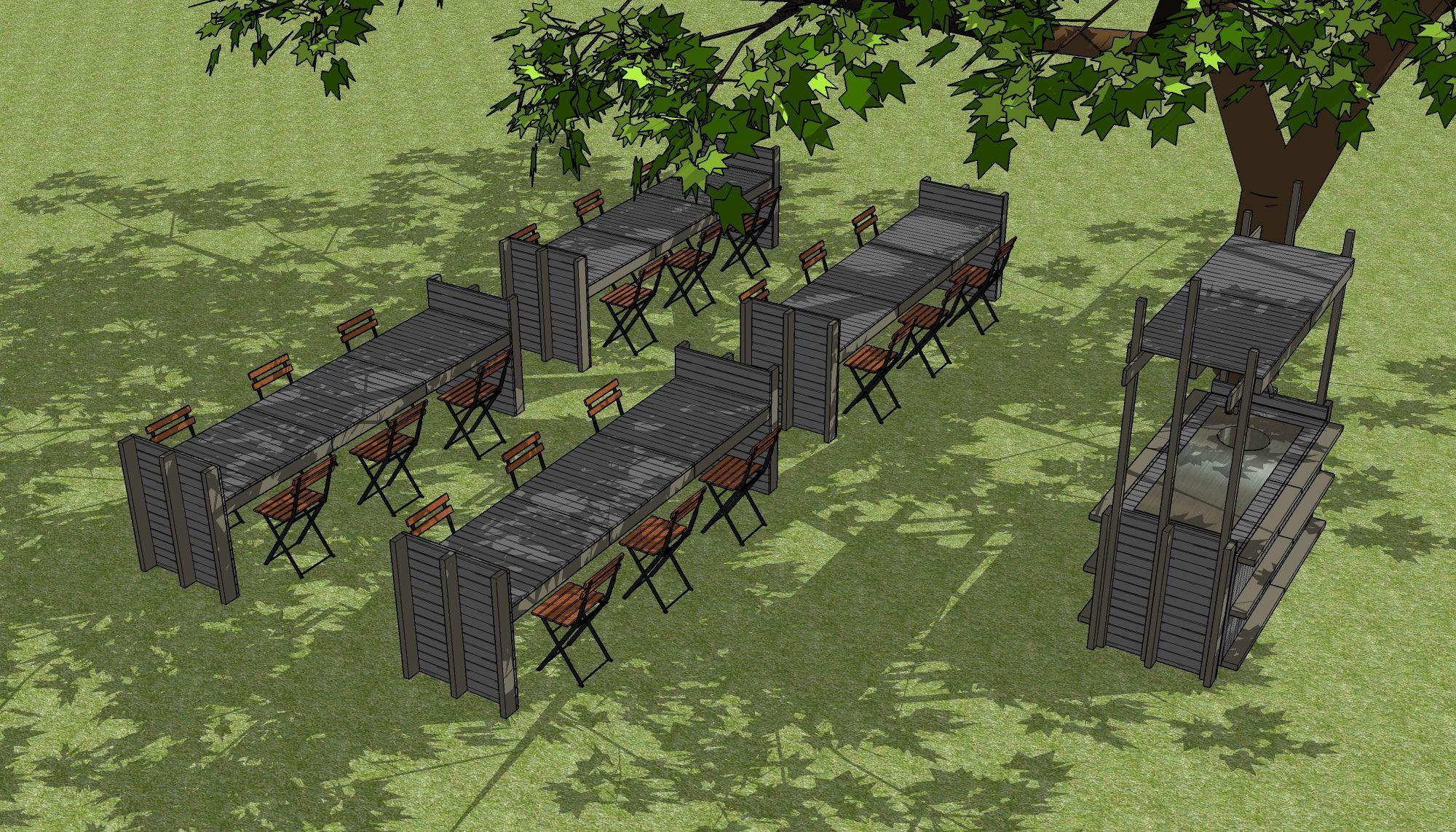 buitenkeuken en tafels voor een tuinfeest