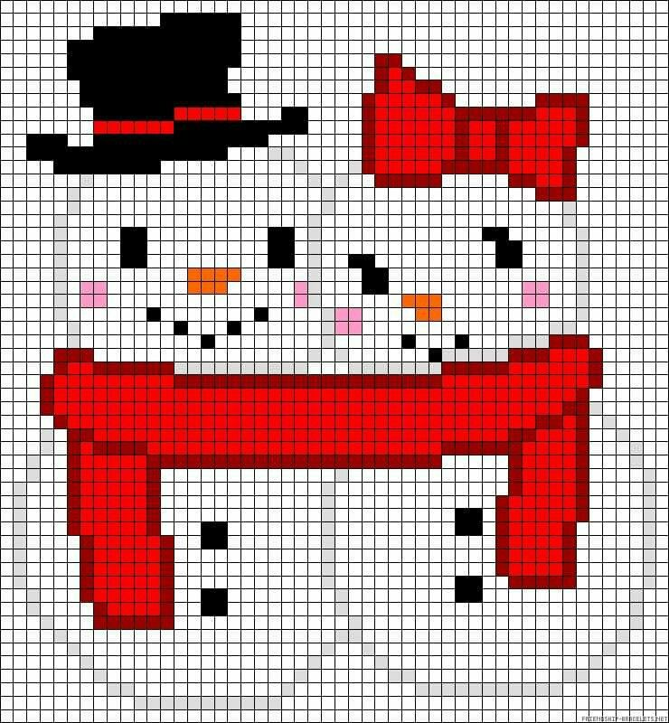 Snowman couple c2c crochet graph graphgan pattern perler