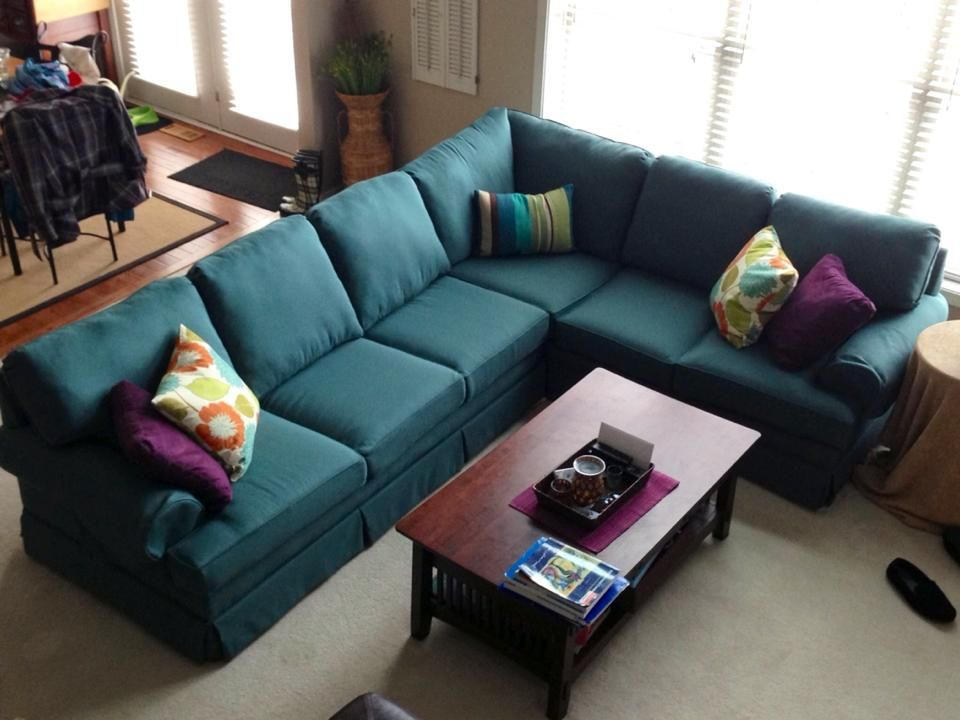 Reupholstered Teal Sectional Couch Home Decor