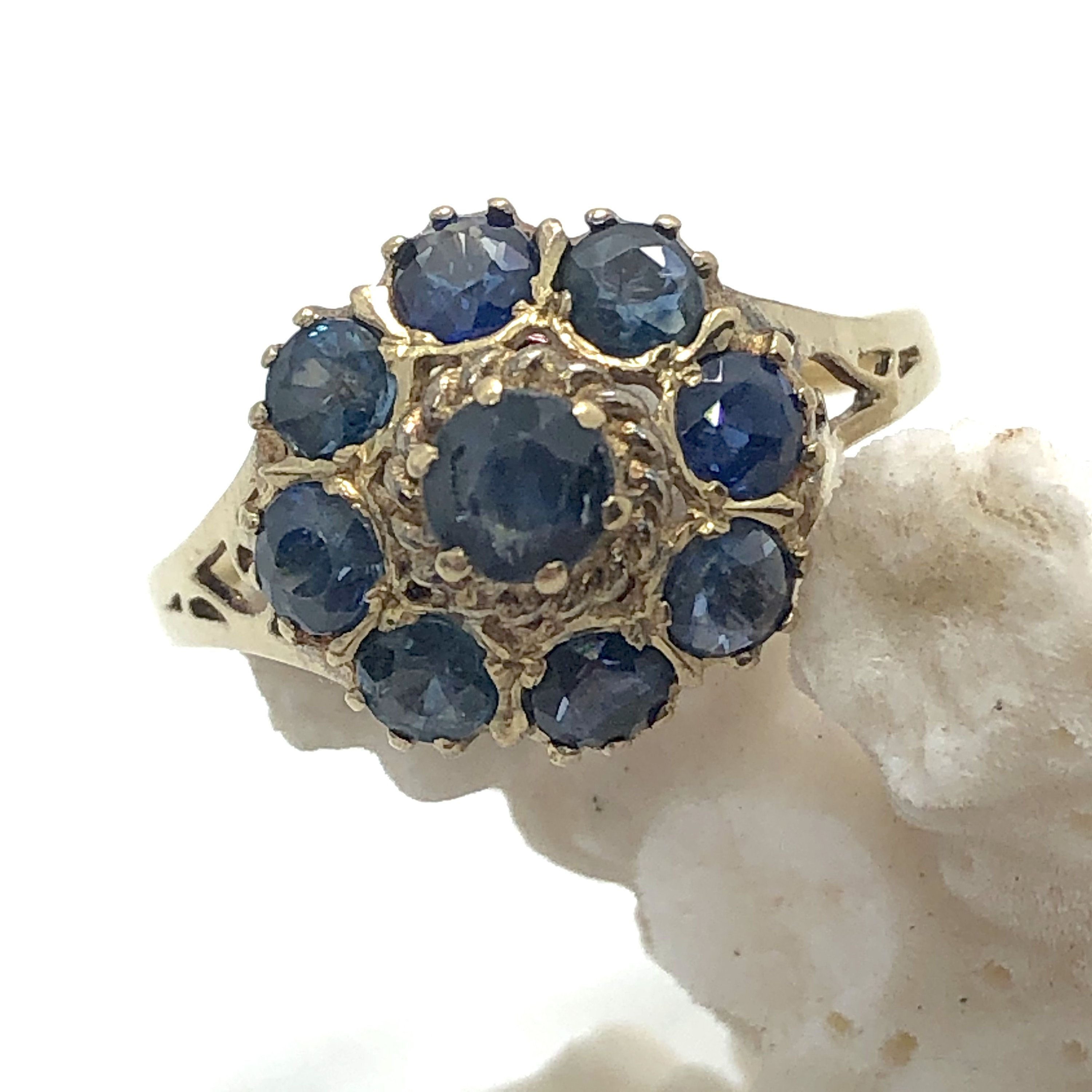 Vintage Sapphire Cluster Ring In Solid 10k Yellow Gold Size 6 Small Thai Princess Sapphire Ring In 2020 Vintage Sapphire Diamond Wedding Bands Cluster Ring