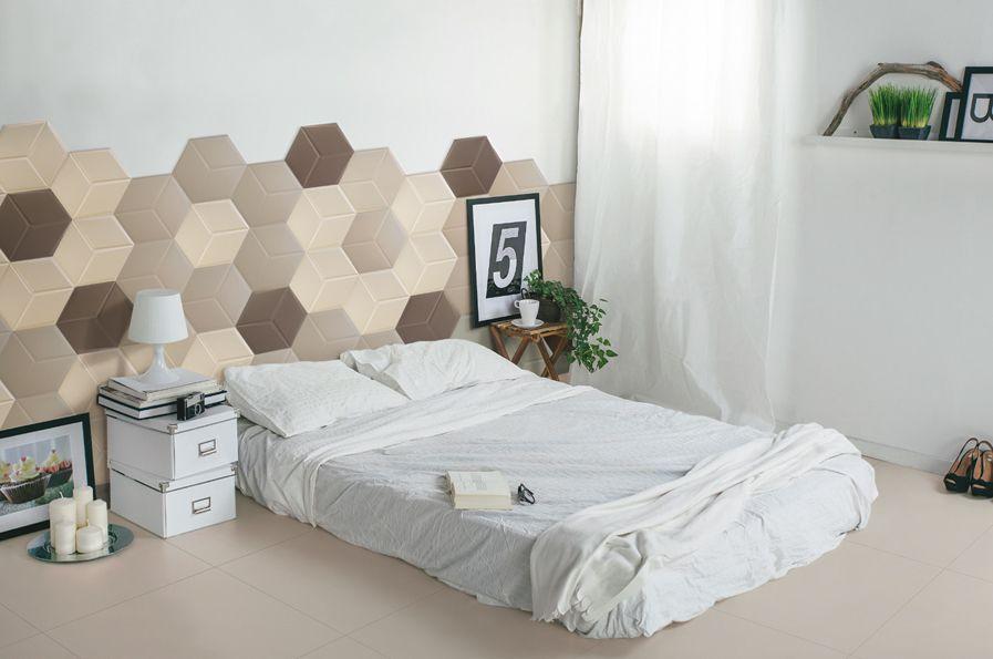 carrelage tete de lit hex peace ivory taupe brown A!! Couleur