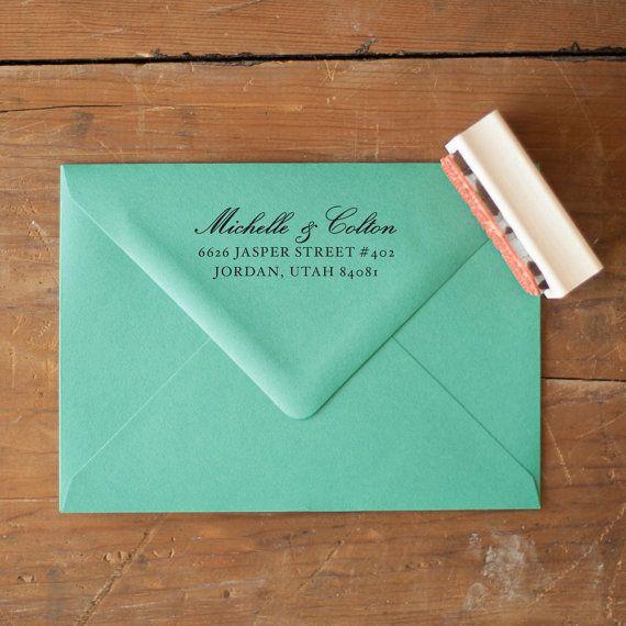 Return Address Stamp Wedding Invitation