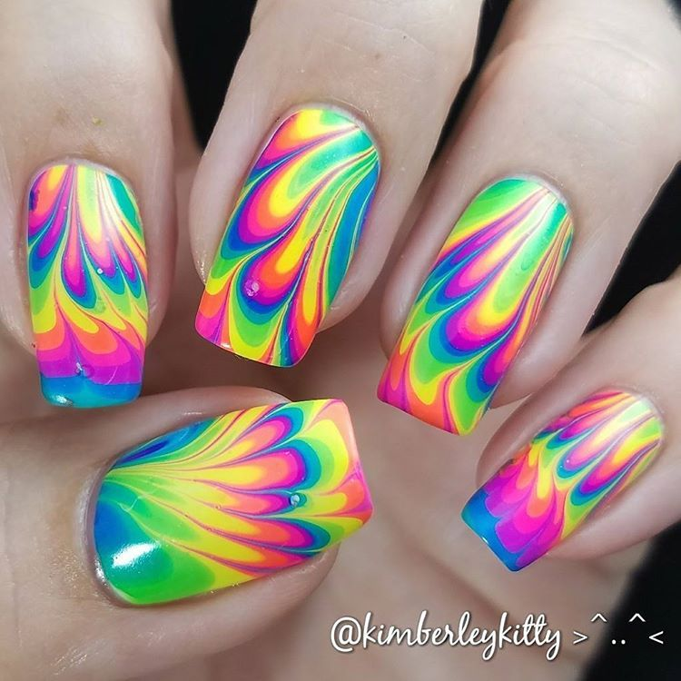 Rainbow Neon Watermarble Nail Art - Pipe Dream Polish A Night In ...