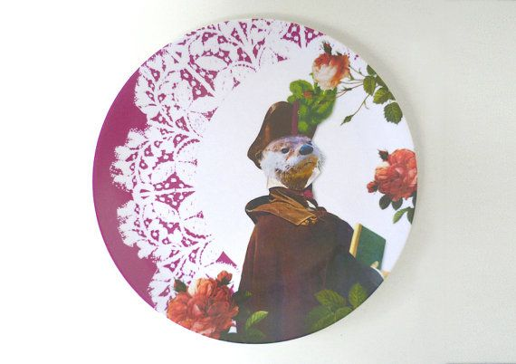 Design Melamine Plate Collage with otter art by Wohngemuese