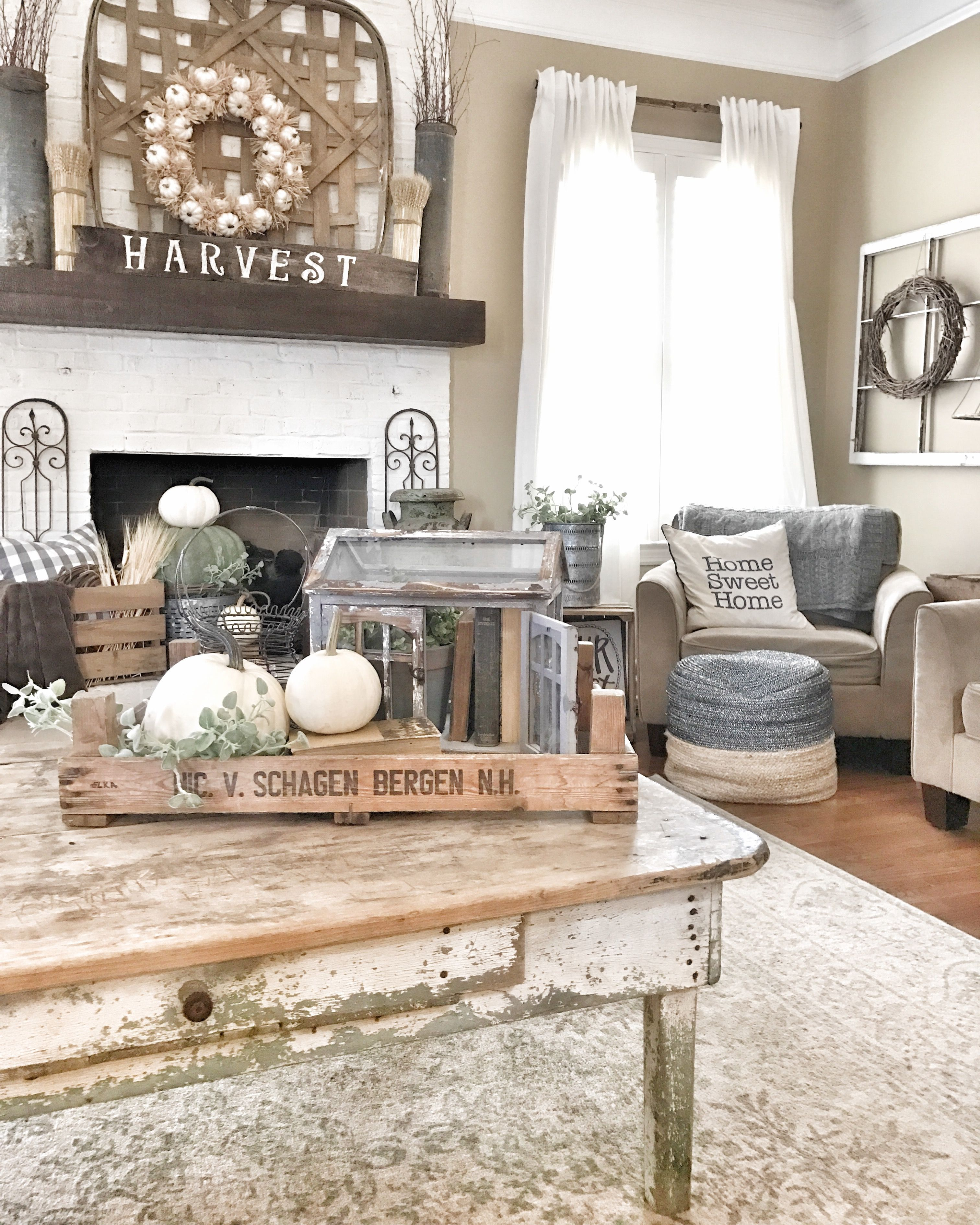 fall farmhouse and rustic living room ig @bless_this_nest