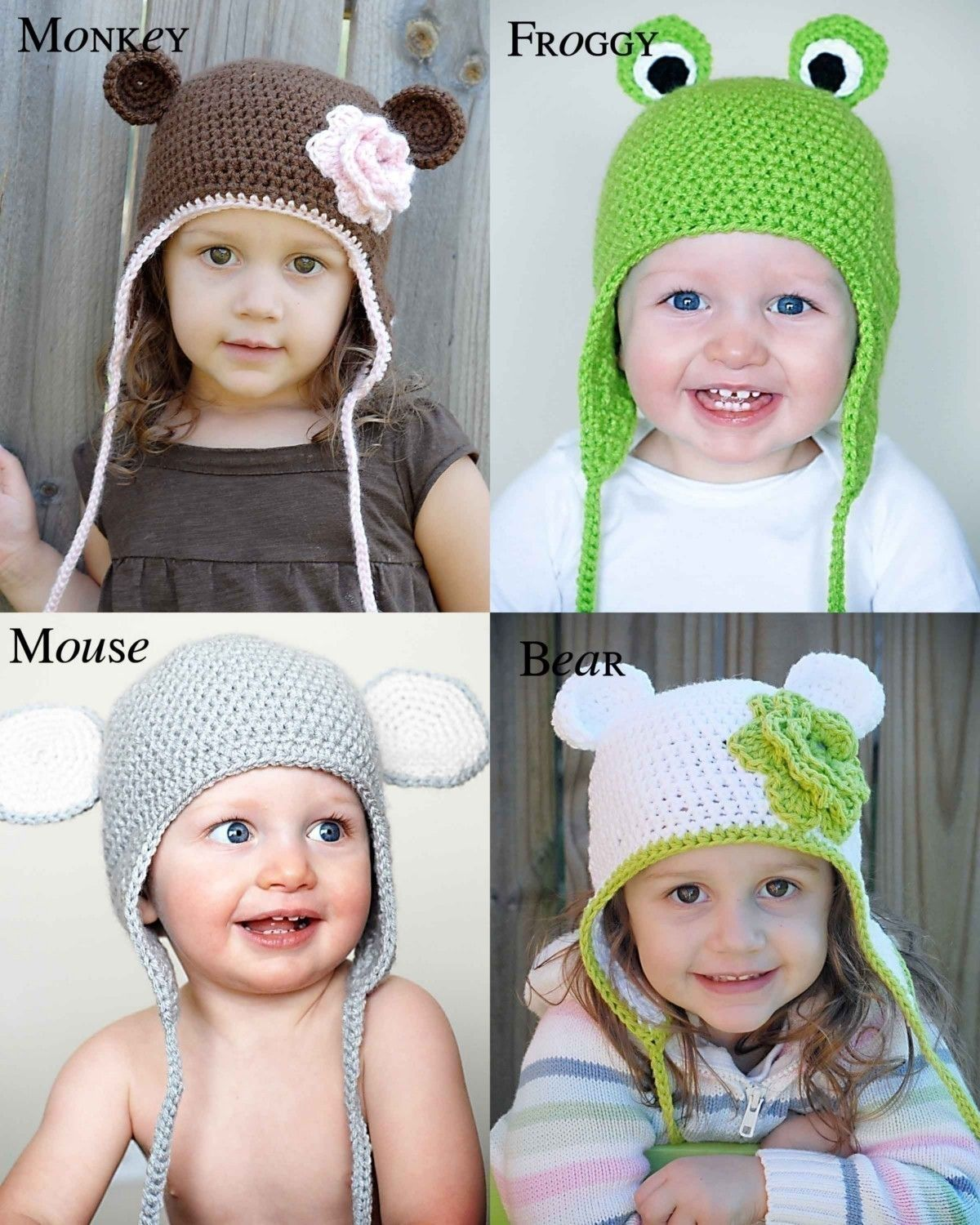 Animal Hat Crochet Patterns Collection 1 (Monkey, Mouse, Bear and ...