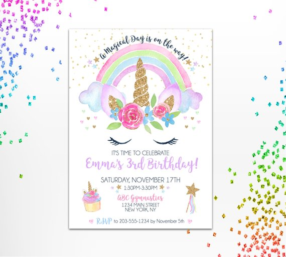 unicorn birthday invitation unicorn rainbow invite girl birthday